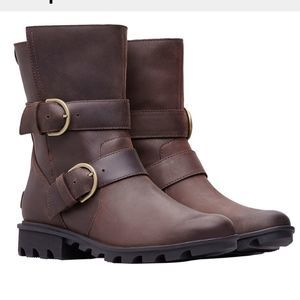 Sorel Brown Phoenix Waterproof Moto Boots